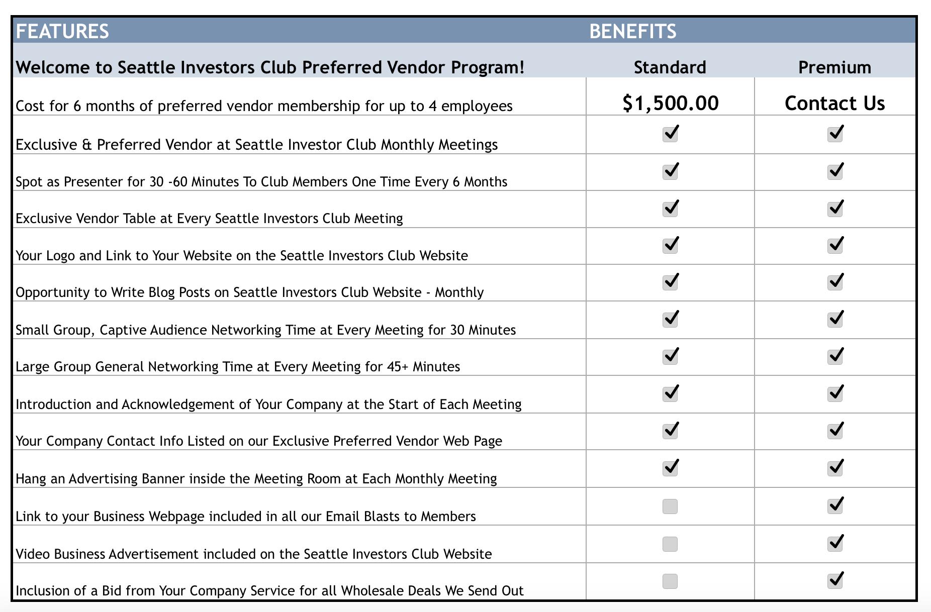 Vendor benefits updated
